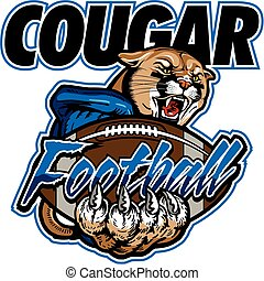 cougar football team design with mascot and ball for school,...