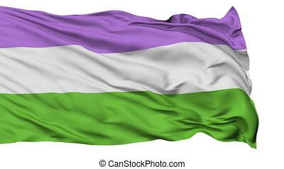 Genderqueer Pride Close Up Waving Flag - Genderqueer Pride...
