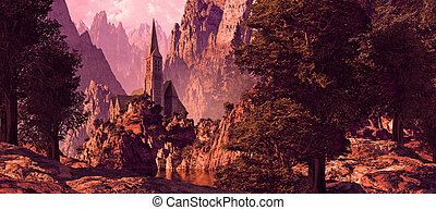 Church In The Canyon - Church in a canyon near a lake with...