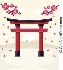Japanese Torii Gate - Japanese Tori Gate, Sakura Blossom and...