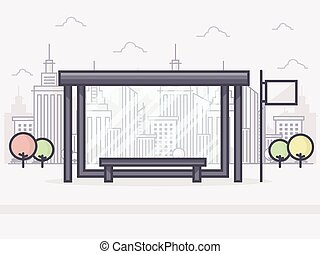 Bus Stop - Line Art Vector Illustration of Bus Stop with...