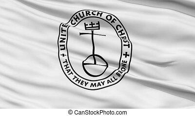 United Church Christ Religious Close Up Waving Flag - United...