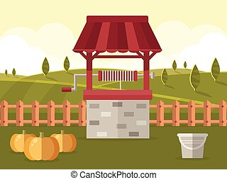 Rural Landscape in Autumn - Old Water Well with Bucket and...