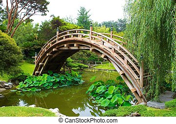 pond crossing - japanese bridge over koi pond,in lush green...
