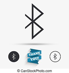 Bluetooth sign icon Mobile network symbol Data transfer Flat...