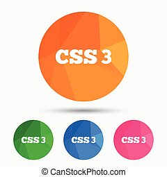 CSS3 sign icon Cascading Style Sheets symbol Triangular low...