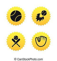 Baseball icons Ball with glove and bat symbols - Baseball...