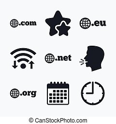 Top-level domains signs Com, Eu, Net and Org - Top-level...