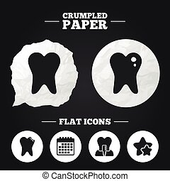 Dental care icons. Caries tooth and implant. - Crumpled...