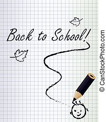 Back to school background with a black pencil and smile ,...