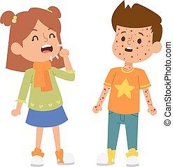Sick children vector set. - Children sick sickness disease...
