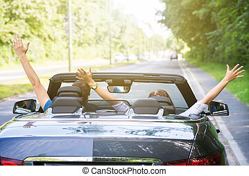 Couple Sitting In A Car Raising Their Arms - Rear View Of A...