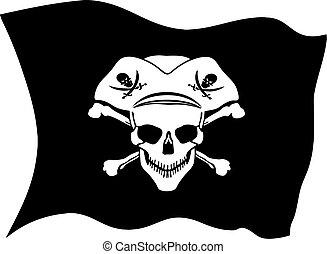 Pirate symbol Jolly Roger skull vector flag