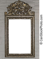 Big antique mirror frame - Big antique mirror frame on white...