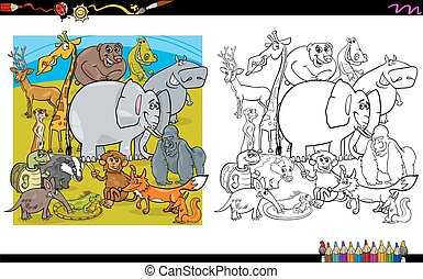 animal characters coloring book - Black and White Cartoon...