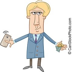 man with cash and smart phone - Cartoon Illustration of Man...
