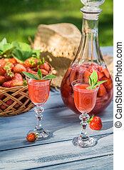 Homemade strawberry liqueur