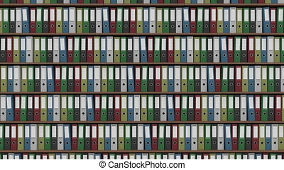 Big archive full of colored binders horizontal dolly shot....