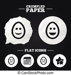 Eggs happy and sad faces signs. Easter icons.