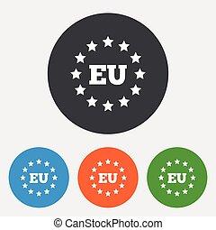 European union icon. EU stars symbol.