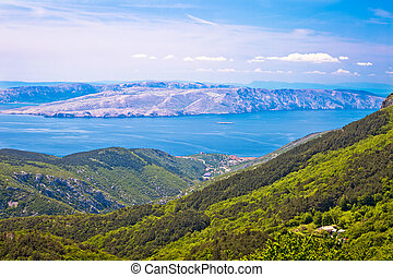 View from Velebit mountain on Senj and Krk island, Croatia