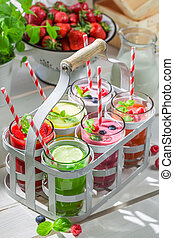 Summer cocktail with fresh fruits