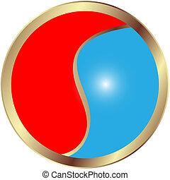 Yin & Yang - Yin and Yang glossy button