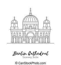 European landmark in thin line vector illustration -...