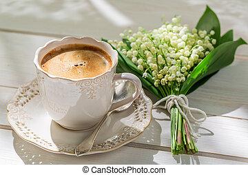 Delicious espresso in sunny day