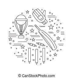 Cricket sport game graphic design concept - Round...
