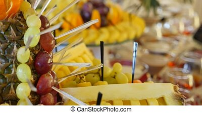 Authentic buffet, assorted fresh fruits, berries and citrus fruits.