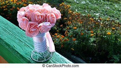 Beautiful pink wedding bouquet