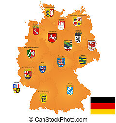 map of Germany - Detailed map of Germany with coat of arms...
