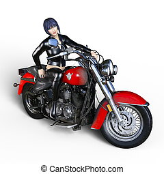 Female rider - 3D CG rendering of a female rider