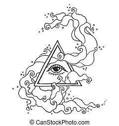 Eye in pyramid with mystic smoke - Eye of Providence sign....