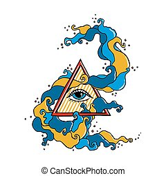 Eye in pyramid with colorful swirl - Eye of Providence sign....