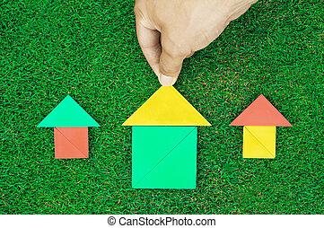 feito, natural, casa, homem, capim, tangram, figuras, mãos,...