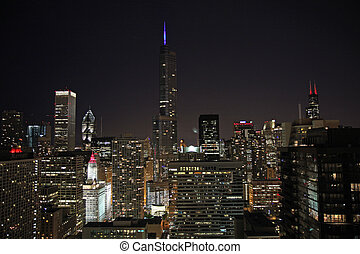 Trump Tower with lighted spire - Trump International Hotel...