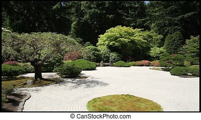 Zen Garden at Japanese Garden - Zen Sand Flat Garden at...
