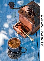 Freshly milled ground coffee in garden