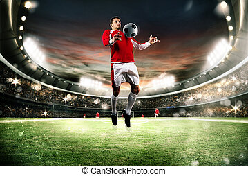 Football action in the stadium - Football player parry the...
