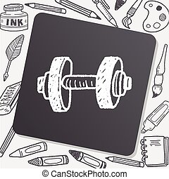 dumbbell fitness doodle
