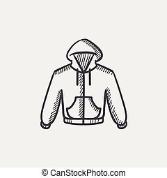 Hoodie sketch icon. - Hoodie sketch icon for web, mobile and...