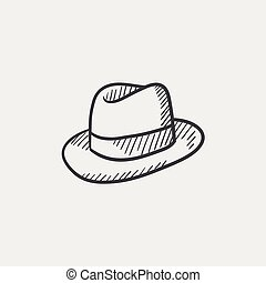 Hat sketch icon. - Hat sketch icon for web, mobile and...