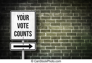 Your vote counts road sign concept