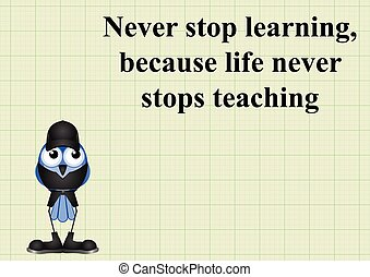 Never stop learning quotation on graph paper background with...
