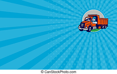 Business card Dump Truck Driver Thumbs Up Circle Cartoon