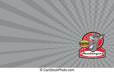 Business card Donkey Serving Burger Diner Retro