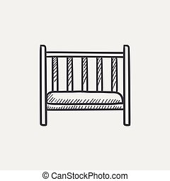 Baby cot sketch icon - Baby cot sketch icon for web, mobile...