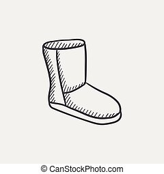 Fuzzy winter boot sketch icon - Fuzzy winter boot sketch...